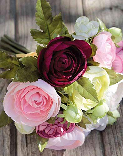 artplants.de Kunst Ranunkelstrauß Tonie, pink-weiß, 20cm, Ø20cm - Ranunkel Deko/SeidenBlumenstrauß