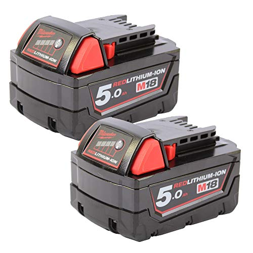 Milwaukee 4932430483 M18B5 - Batería de ion de litio (2 unidades, 18 V, 5 Ah), color rojo