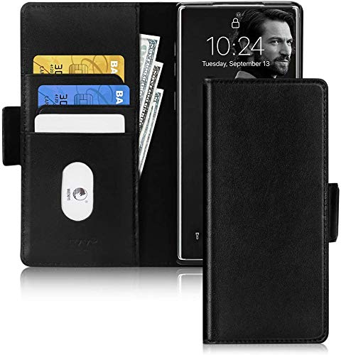 FYY Galaxy Note 10 Plus Hülle,Samsung Note 10 + 5G Handyhülle,[Rindsleder Echtem Leder] Flip Brieftasche Hülle[Ständer-Funktion]mit Kartensteckplätze für Samsung Galaxy Note 10 Plus 5G Hülle-Schwarz