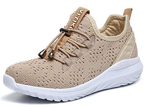 VITIKE Kinder Schuhe Jungen Schuhe Mädchen Sneaker Damen Sportschuhe Outdoor Schuhe Jungen Turnschuhe Laufschuhe Schnürer Freizeit Sportschuhe Kinder Sneaker, 9-khaki, 31 EU