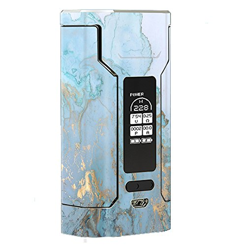 Skin Decal Vinyl Wrap for Wismec Predator 228 Vape Mod Skins Stickers Cover / Teal Blue Gold White Marble Granite