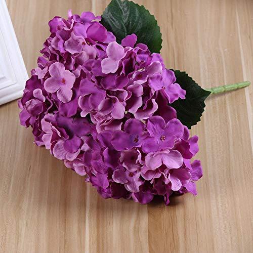 Quality Simulation Blumen-Hochzeit 5 Köpfe Bunch Big Hortensie Simulation Französisch Hydrangea Gefälschte Blume Tischdekoration Hochzeit Props Blumen deep Purple
