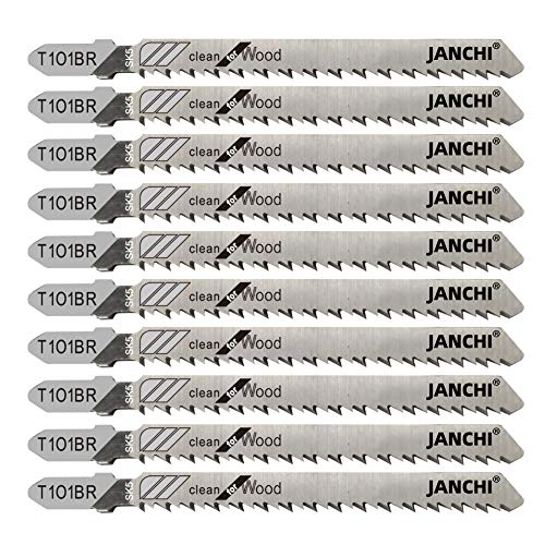 50Pack T101BR T-Shank Contractor Jig Saw Blades - 4 Inch 10 TPI Jigsaw Blades Set- Made for High Speed Carbon Steel, Clean and Precise Straight Cutting Wood Boards PVC Plastic