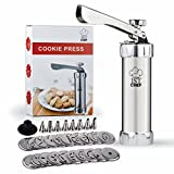 Stainless Steel Cookie Press Kit - Professional Quality - 20 Stainless Steel Discs & 8 Steel Icing Tips - FREE Reusable...
