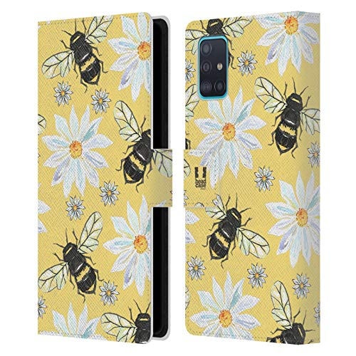 Head Case Designs Bees Watercolour Insects Leather Book Wallet Case Cover Compatible with Samsung Galaxy A51 (2019)