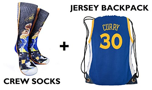 Forever Fanatics Golden State Curry #30 Ultimate Basketball Fan Gift Set Bundle ? Curry #30 Crew Socks Sizes 6-13 ? Matching Curry #30 Jersey Drawstring Backpack (Size 6-13, Curry #30 Gift Set)