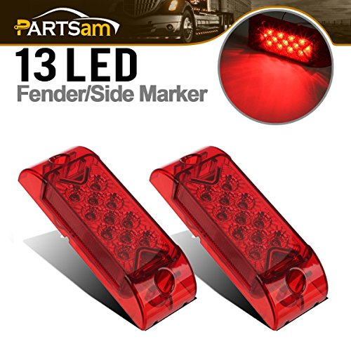 Partsam 2x Red 6' x 2' Sealed Rectangular Rectangle Clearance Marker Lamp 13LED Truck Trailer Light