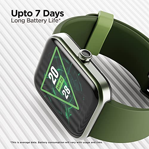 """boAt Xtend Smartwatch with Alexa Built-in, 1.69"""" HD Display, Multiple Watch Faces, Stress Monitor, Heart & SpO2 Monitoring, 14 Sports Modes, Sleep Monitor & 5 ATM Water Resistance(Olive Green)"""