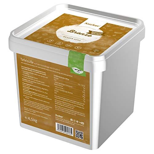 Xucker Bronxe Erythrit 4,5 kg Box - kalorienfreier brauner Zucker Ersatz als vegane & zahnfreundliche Rohrzucker Alternative I Erythrit ohne Stevia I zuckerfreie Süße