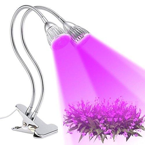 Velidy LED Pflanzenlampe Vollspektrum 10w Dual Kopf Pflanzenlicht ,360 Degrees Einstellbar Doppelkopf doppelschalter mit Schreibtisch Clip für Zimmerpflanzen Hydroponic Garden Greenhouse