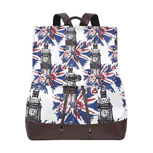 Flyup London Big Ben UK Flag Theme PU leather Backpack College School Bookbag Shoulder Hiking Travel Daypack Casual Bags Mochila de cuero para mujer