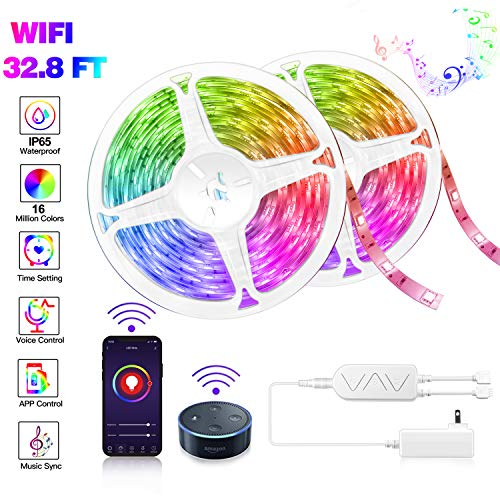 Smart WIFI LED Strip Lights 32.8 FT Work with Alexa Google Assistant, Voice Control RGB LED Lights, 16 Million Colors Changing Light Sync to Music, Waterproof Tape Lights Wireless Phone APP Controlled