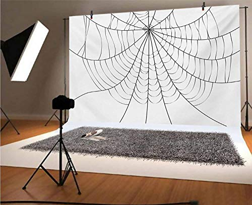 Spider Web 5x3 FT Vinyl Photography Background Backdrops,Close Up Cobweb Design Monochrome Design Elements Catching Network Fear Background for Photo Backdrop Studio Props Photo Backdrop Wall