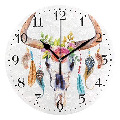 Zseeda Reloj de Pared de Plumas de Calavera de Toro con Flores Reloj de acrílico Redondo de 9,4 Pulgadas con batería para decoración de Sala de Estar - Sin Marco ni Cubierta de Vidrio