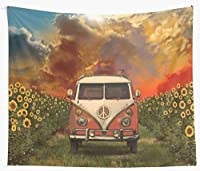 Sunflowers Vintage Travel Car Tapestry Wall Hanging Beach Mat Blanket Home Bedroom Carpet Wall Cloth 150x200cm