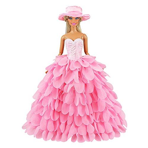 Miunana Ballkleid Prinzessin Kleidung Kleider mit Hut für 11,5 Zoll Mädchen Puppen