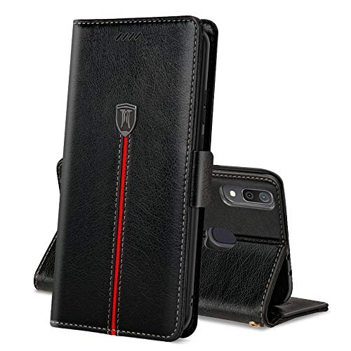 Galaxy A30 ケース 手帳型 ギャラクシーA30ケース 手作り MaKstu 高級レザー A30 カバー カード収納 スキミング被害防止機能 Galaxy A30 SCV43 スマホケース 財布型 衝撃吸収 全面保護カバー(ブラック)