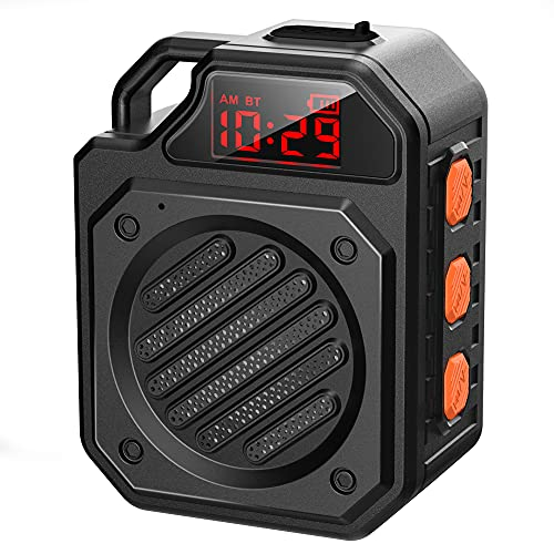 IPX7 Waterproof Shower Speaker DuoTen Bluetooth Wireless Speaker Shower Radio with 10W Loud Sound 1000mAh 15H Playtime LED Display TWS Hands-Free for Bathroom Climbing Hiking Biking Beach (Small)