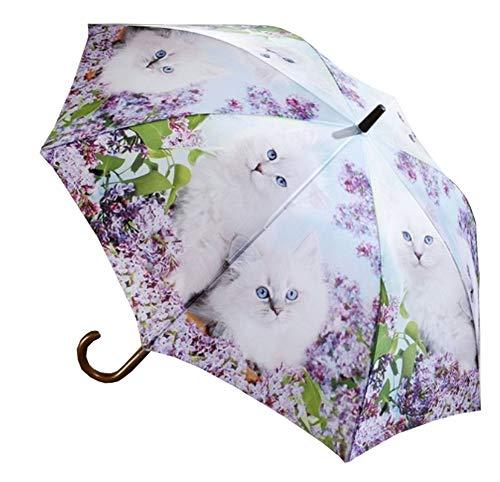 LaFiore24 Regenschirm Damen Stockschirm Automatikfunktion Holzgriff Gross windresistent Gehstock Katze mit Flieder