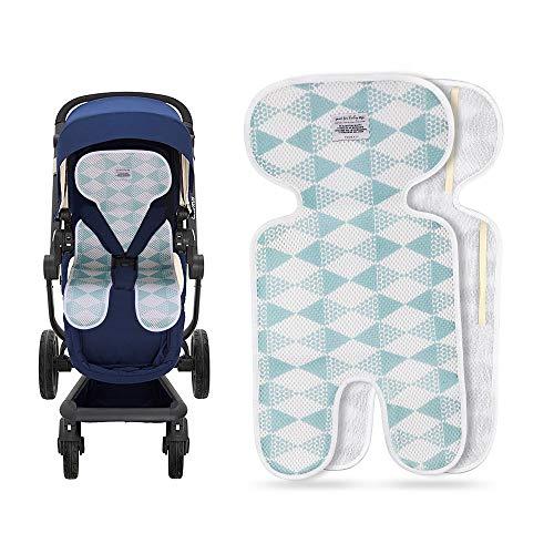 Luchild Sitzauflage Kinderwagen Sommer Atmungsaktive Sitzeinlage für Buggy (blau-Dünn)