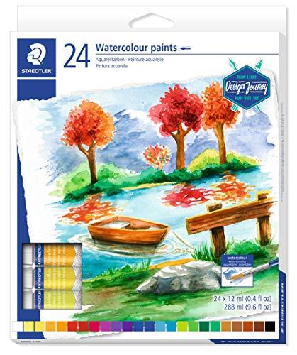 STAEDTLER 8880 C24 Design and Journey. Tubos de pintura acuarela. Caja con 24 tubos de pintura de colores variados