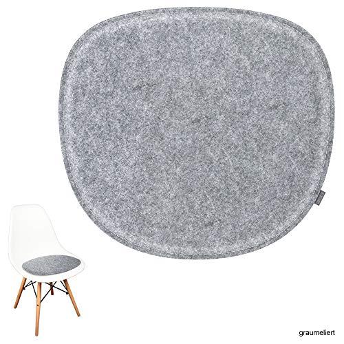 noe Eco Filz Sitzkissen geeignet für Vitra Eames Sidechair DSW,DSR,DSX,DSS - 29 Farben - optional gepolstert und mit Antirutsch! (Graumeliert)
