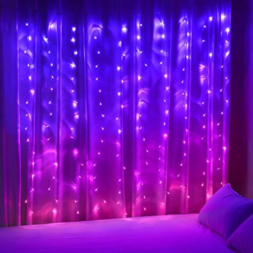 Vorhang Lichterkette zum Aufhängen für Mädchen Schlafzimmer Einhorn Meerjungfrau 160 LED rosa lila Lichter für Party Weihnachtsdekoration
