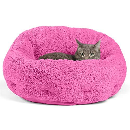 Best Friends by Sheri OrthoComfort Deep Dish Cuddler (20x20x12″) – Self-Warming Cat and Dog Bed, Fuchsia