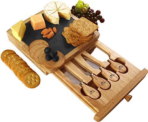 Utopia Kitchen Cheese Board And Knife Set 5 Piece Set Includes Cheese Slate 4 Stainless Steel Cheese Knives Removable Slide Out Drawer Natural Oak Cheese Cracker Platter Ideal Present Set Buy Online