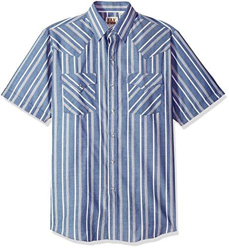 ELY CATTLEMAN Men's Short Sleeve Stripe Western Shirt, Blue, X-Large