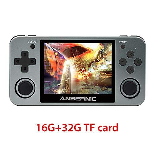 MezoJaoie RG350m Handheld Game Console, 2020 geüpgraded 3,5 inch RG350m IPS Game Console, Ingebouwde lithiumbatterij 2500 MAh, 10000 Games Opendingux-systeem, 16G ROM / 16G + 32G TF-kaart