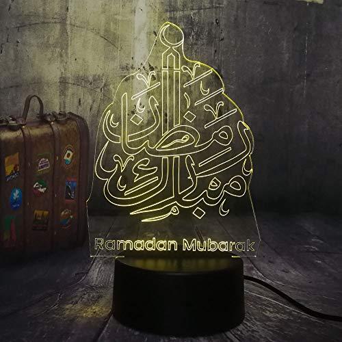 Novedad Islam Bendición Ramadan Mubarak Saludos cordiales 3D LED Luz de noche USB Lámpara de mesa Niños Regalo de cumpleaños Decoración de la habitación de noche