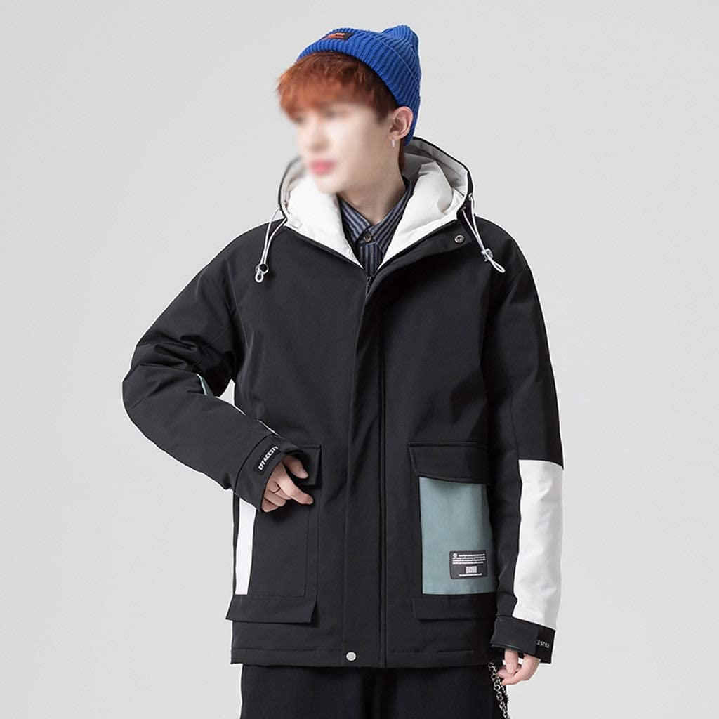 DIAOD Patchwork White Duck Down Jacket Men New Winter Down Coats Mens Thick Warm Hooded Jacket Streetwear Multi Pocket Outerwear (Color : Black, Size : Medium)