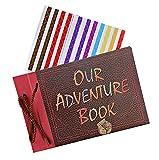 Miystn Our Adventure Book, Album Fotos Scrapbook, Kit Scrapbook, Álbum de Recortes Hecho A Mano Libro de Recuerdos para Dia de San Valentin Boda Cumpleaños Aniversario Navidad (1 Pieza, 29x19cm)