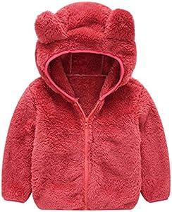 TOPKEAL Lindo Abrigo con Capucha de Orejas de Oso de Manga Larga para Niños Chaqueta Felpa Rojo Gruesa de Algodón Bebé
