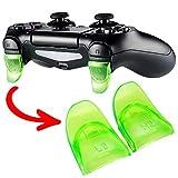 eXtremeRate 2 Pares de Disparador de Botones para PS4 L2 R2 Gatillo Extensor Quickfire Trigger Ajustables para Playstaion 4 Mando Pro Slim(Modelo: JDM-001 JDM-011 JDM-040 JDM-050 JDM-055)-Verde