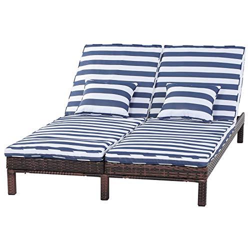 Outsunny Gartenliege, Doppelliege, Relaxliege für 2 Personen, Lounge, 5-stufige Rückenlehne, Metall, PE Rattan, Blau, 195 x 120 x 28 cm