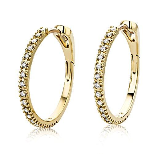 Miore Ohrringe Damen 0.18 Ct Diamant Creolen aus Gelbgold 18 Karat / 750 Gold, Ohrschmuck mit Diamanten Brillianten