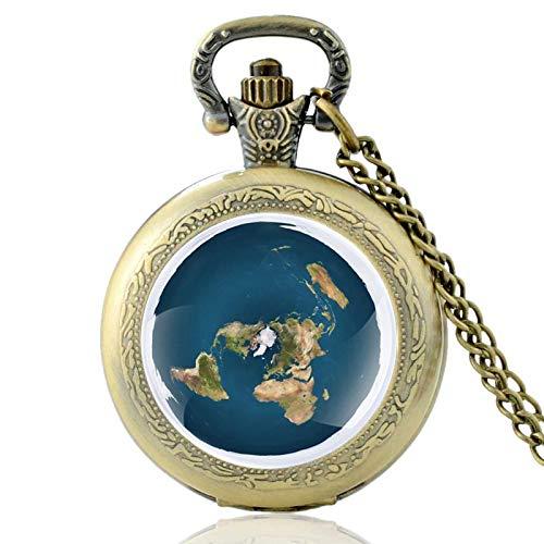 XTQDM Pocket watch,Unique The Earth Is Flat Bronze Vintage Quartz Pocket Watch Men Women Pendant Necklace Hours Clock Gifts Bronze
