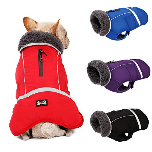 Komate Impermeable Chaqueta de Perro Abrigo de Invierno Chaqueta Cachorro Reflectante de Seguridad Pequeño Mediano Perros Grandes Traje a Prueba de Viento (M (Cofre 42 a 68 cm), Rojo)