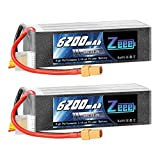 Zeee 6S Lipo Battery 22.2V 50C 6200mAh RC Battery with XT90 Plug for RC Quadcopter Airplane Helicopter Car Truck (2 Pack)