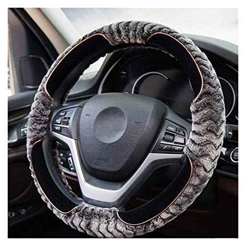 Cubierta para el Volante Lana de Piel Peluda Fluffy Thick Threar Wheel Wheel Wheel Window Universal Winter Soft Warm Warm Carp Accessories Fit 14.5-15in / 37-38cm (Color : Gray)