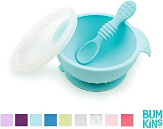 Bumkins Suction Silicone Baby Feeding Set, Bowl, Lid, Spoon, BPA-Free, First Feeding,..