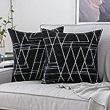 MIULEE 2 Piezas Fundas de Cojines para sofá Gamuza Sintética Almohada Caso de Diseño Geométrico Decorativas Fundas Cojines para Habitacion Juvenil Sofá Comedor Cama 50x50cm Negro