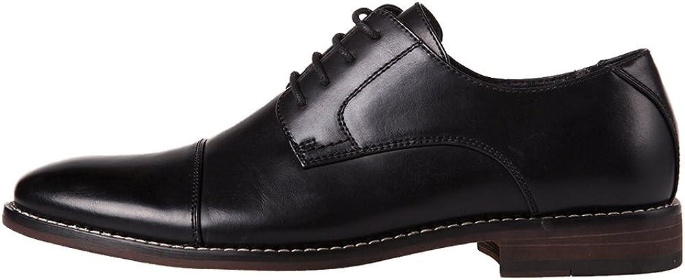 J'S.O.L.E Italy Men's Prince Classic Modern Formal Oxford Cap Toe Lace Up Dress Shoes (9, Black)