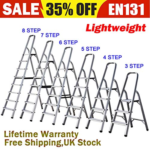 Foldable 3 4 5 6 7 8 Step Ladder Stepladder Non Slip Tread Safety Aluminium Step