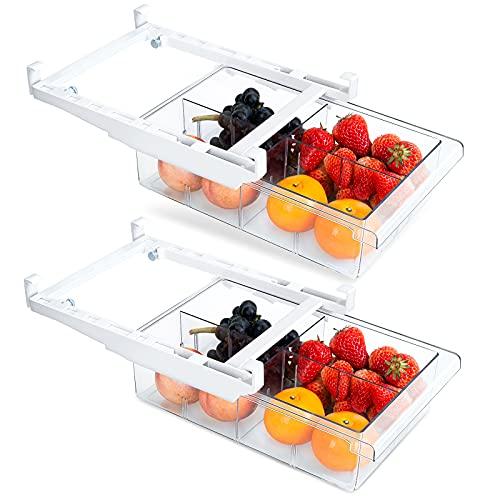FINEW Kühlschrank Organizer Schubladen 2er Set, Ausziehbarer Aufbewahrungsbox, Hochwertig Speisekammer Vorratsbehälter Kühlschrankbox Container mit Griff, Geeignet für Kühlschrankregale über 30 cm