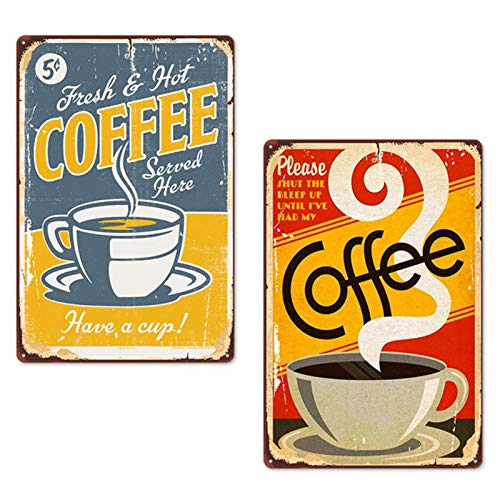 N\\O 2 Stück Kaffee Retro Blechschild Metall, Nostalgic-Art Retro Wandzimmer Dekor/Vintage Zinn Wandschild, dekorativ für Cafe Bar Pub Beer Home, Bar Hintergrund Wanddekoration, 20cmx30cm