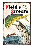 フィールド&ストリーム1934年アウトドアマンハンティングフィッシングメタルはマンケーブメタルに署名できます