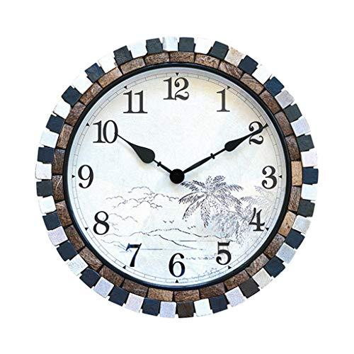 Relojes de pared Reloj de pared de 18 pulgadas Creativo Mudo Reloj de cuarzo Cultura natural La piedra y la decoración de cáscara de coco es muy adecuada para interiores o para regalos para amigos Rel